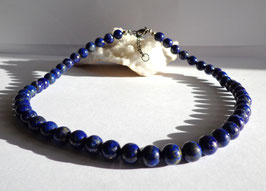 Lapis-lazuli, collier perles rondes
