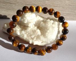 Oeil de tigre, bracelet élastique perles 8 mm
