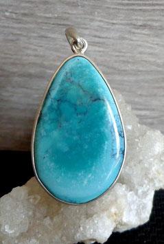 Turquoise, pendentif cerclé (grand)