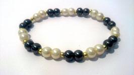 Hématite et perles, bracelet élastique