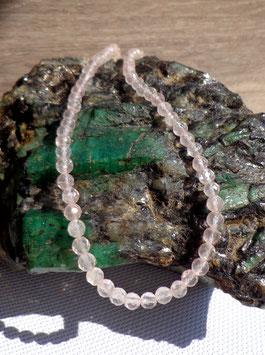 Quartz rose, collier perles facettées 6 mm
