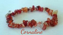 Cornaline, bracelet élastique baroque
