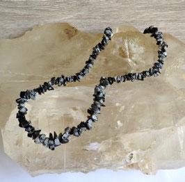 Obsidienne neige, collier baroque