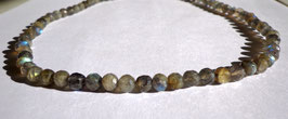 Labradorite, collier perles facettées