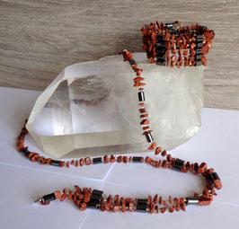 Pierre de soleil (synthétique), collier magnétique