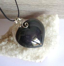 Obsidienne oeil céleste (Mexique), pendentif gros coeur