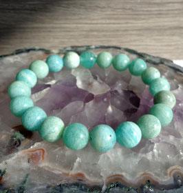 Amazonite, bracelet élastique perles 1 cm