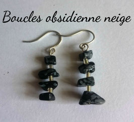 Obsidienne neige, boucles baroques argent