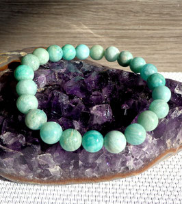Amazonite, bracelet élastique perles 8 mm