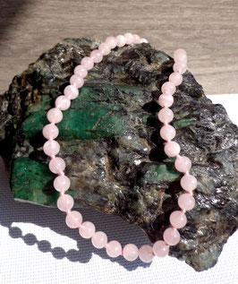 Quartz rose, collier perles rondes