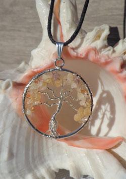 Citrine, pendentif arbre de vie