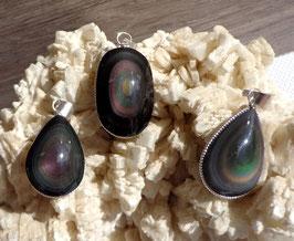 Obsidienne oeil céleste, pendentifs cerclés