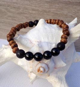 Tourmaline noire, bracelet élastique homme