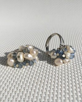 Perles, bagues ajustables (bleu)