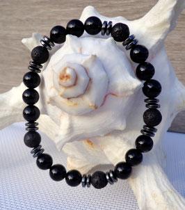 Onyx, bracelet élastique homme