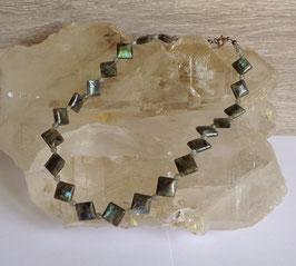 Labradorite, collier perles lozanges