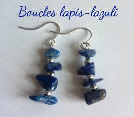 Lapis-lazuli, boucles baroques argent