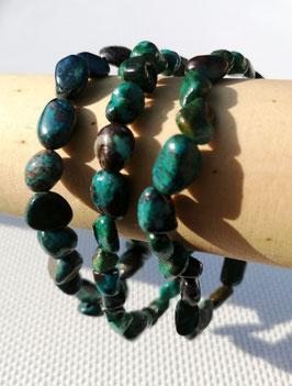 Chrysocolle A, bracelets pierres roulées