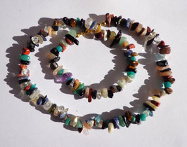 Pierres naturelles, collier multicolore