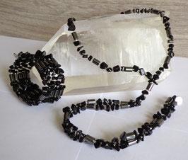 Onyx et hématite aimantée, collier magnétique