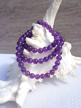 Améthyste, bracelet élastique perles 6 mm