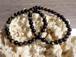 Obsidienne dorée, bracelet élastique perles 6 mm