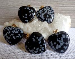 Obsidienne neige, pendentifs coeurs