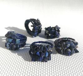 Lapis-lazuli, bagues fil mémoire perles