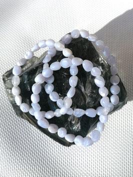 Calcédoine, bracelets pierres roulées
