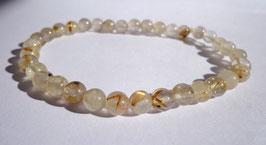 Quartz rutile, bracelet élastique perles