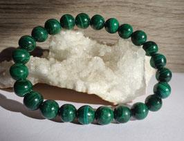 Malachite, bracelet élastique perles 8 mm