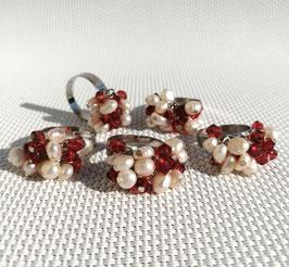 Perles, bagues ajustable (rouge)