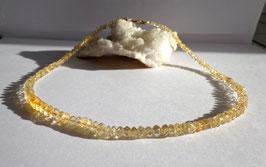 Citrine, collier perles facettées