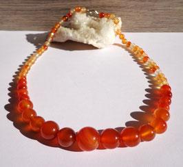 Cornaline, collier perles dégradées