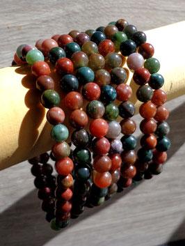 Jaspe héliotrope (sanguin), bracelet élastique