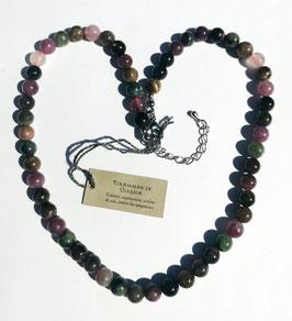 Tourmaline multicolore, collier perles rondes
