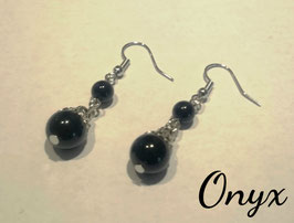 Onyx, boucles 2 perles