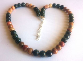 Jaspe kambaba et agate crazy lace, perles rondes