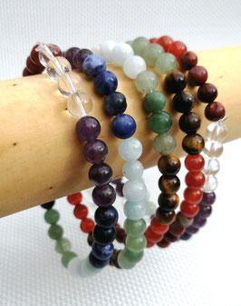 Pierres chakras, bracelets élastiques 6 mm