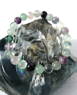 Fluorine, bracelet élastique perles 8 mm