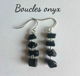 Onyx, boucles baroques argent