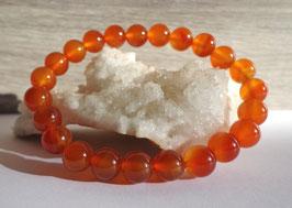 Cornaline claire, bracelet élastique perles 8 mm