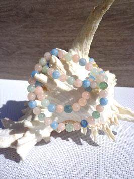 Béryls, bracelet élastique perles 6 mm
