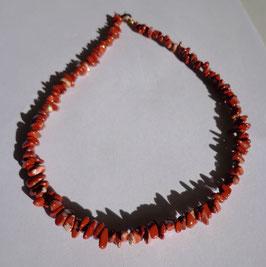 Jaspe rouge, collier perles roulées