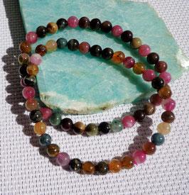 Tourmaline multicolore, bracelet élastique 6 mm