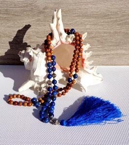 Lapis-lazuli et bois de santal, collier Mala