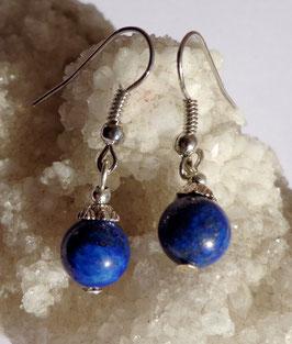 Lapis-lazuli, boucles 1 perle