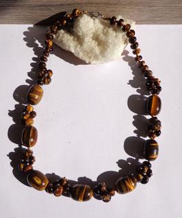 Oeil de tigre, collier composé perles ovales