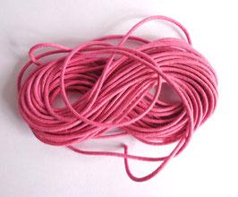 Cordon coton ciré 1 mm rose (au mètre)