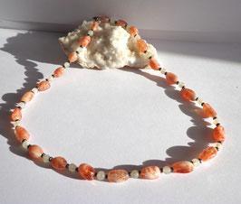 Pierre de soleil, pierre de lune et hématite, collier perles